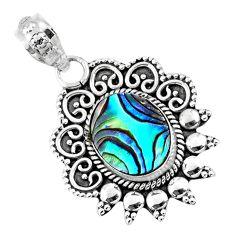 4.06cts natural green abalone paua seashell 925 sterling silver pendant r57806
