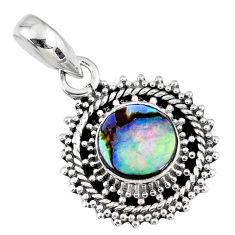 2.60cts natural green abalone paua seashell 925 sterling silver pendant r58084