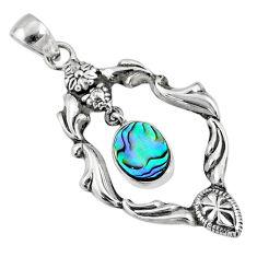 3.40cts natural green abalone paua seashell 925 sterling silver pendant r67561