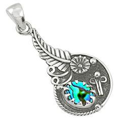 1.88cts natural green abalone paua seashell 925 sterling silver pendant r67611