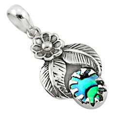 2.08cts natural green abalone paua seashell 925 sterling silver pendant r67626