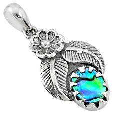 2.09cts natural green abalone paua seashell 925 sterling silver pendant r67640