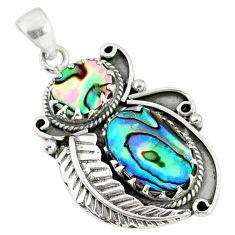 10.68cts natural green abalone paua seashell 925 sterling silver pendant r67691