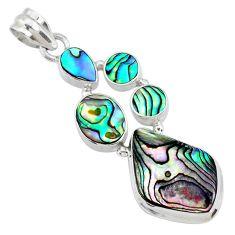 17.67cts natural green abalone paua seashell 925 sterling silver pendant r72857