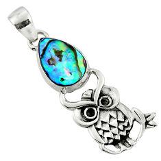 3.73cts natural green abalone paua seashell pear 925 silver owl pendant r52922