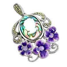 Natural green abalone paua seashell pearl lady face 925 silver pendant c21360