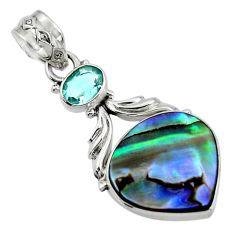 13.10cts natural green abalone paua seashell topaz 925 silver pendant r44538