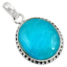 Clearance Sale- 14.23cts natural green amazonite (hope stone) 925 sterling silver pendant d39374