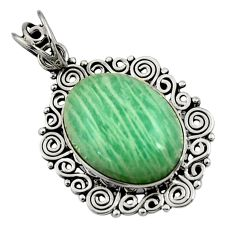 14.12cts natural green amazonite (hope stone) 925 sterling silver pendant d44705