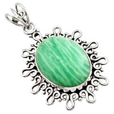 16.24cts natural green amazonite (hope stone) 925 sterling silver pendant d46643
