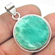 15.65cts natural green amazonite (hope stone) 925 sterling silver pendant t53645