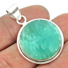 15.72cts natural green amazonite (hope stone) round 925 silver pendant t53469