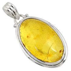 Clearance Sale- 14.14cts natural green amber from colombia 925 sterling silver pendant d41275