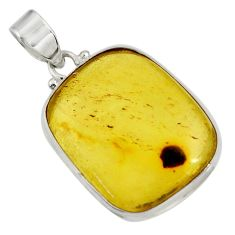16.49cts natural green amber from colombia 925 sterling silver pendant d41276