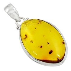 15.53cts natural green amber from colombia 925 sterling silver pendant d41311