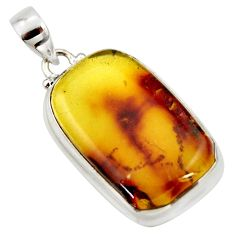 16.73cts natural green amber from colombia 925 sterling silver pendant r33981