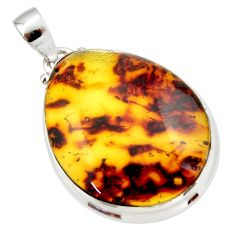 19.23cts natural green amber from colombia 925 sterling silver pendant r33988