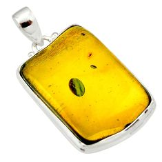 18.70cts natural green amber from colombia 925 sterling silver pendant r33989
