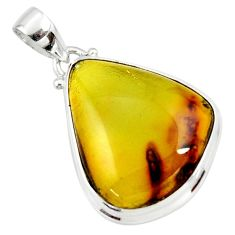 15.10cts natural green amber from colombia 925 sterling silver pendant r36003