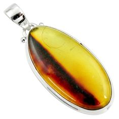 15.53cts natural green amber from colombia 925 sterling silver pendant r36008