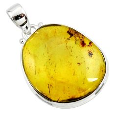 14.72cts natural green amber from colombia 925 sterling silver pendant r36020
