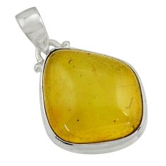 13.70cts natural green amber from colombia 925 sterling silver pendant r41863