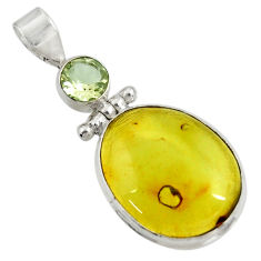 15.53cts natural green amber from colombia amethyst 925 silver pendant d41286
