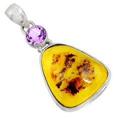 Clearance Sale- 14.14cts natural green amber from colombia amethyst 925 silver pendant d41300
