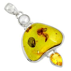 Clearance Sale- 17.38cts natural green amber from colombia citrine 925 silver pendant d41282