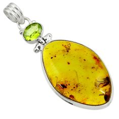 Clearance Sale- 20.07cts natural green amber from colombia peridot 925 silver pendant d41290