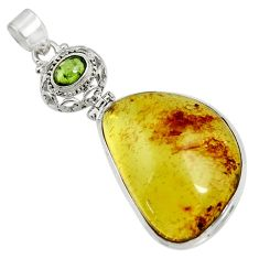 Clearance Sale- 25.07cts natural green amber from colombia tourmaline 925 silver pendant d41293