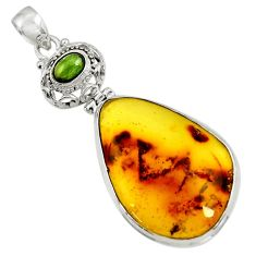 17.93cts natural green amber from colombia tourmaline 925 silver pendant d41296