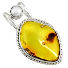 Clearance Sale- 14.47cts natural green amber from colombia white pearl 925 silver pendant d41297