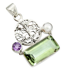 9.47cts natural green amethyst amethyst 925 silver tree of life pendant r20484