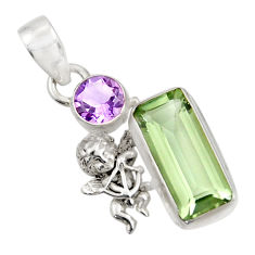 Clearance Sale- 9.72cts natural green amethyst amethyst 925 sterling silver angel pendant d42716