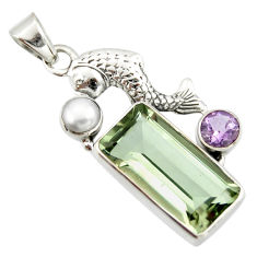 9.04cts natural green amethyst amethyst 925 sterling silver fish pendant r20486