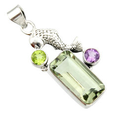 9.39cts natural green amethyst amethyst 925 sterling silver fish pendant r20491