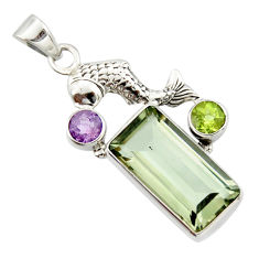 9.39cts natural green amethyst amethyst 925 sterling silver fish pendant r20493