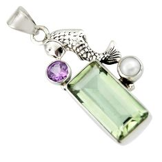 9.39cts natural green amethyst amethyst 925 sterling silver fish pendant r20498