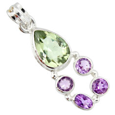 9.85cts natural green amethyst amethyst 925 sterling silver pendant r20343