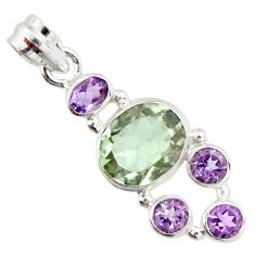 10.32cts natural green amethyst amethyst 925 sterling silver pendant r20345