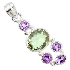 10.41cts natural green amethyst amethyst 925 sterling silver pendant r20347