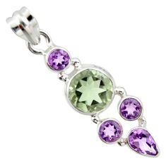 9.99cts natural green amethyst amethyst 925 sterling silver pendant r20354