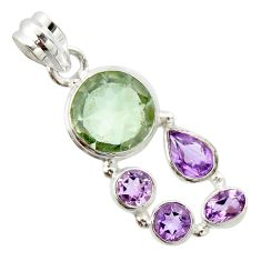 10.70cts natural green amethyst amethyst 925 sterling silver pendant r20355