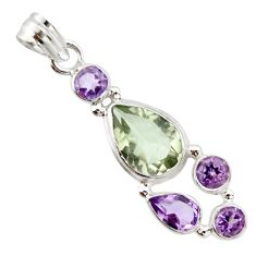 10.81cts natural green amethyst amethyst 925 sterling silver pendant r20357