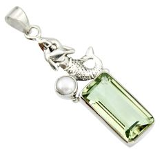 9.72cts natural green amethyst pearl 925 silver fairy mermaid pendant r20490