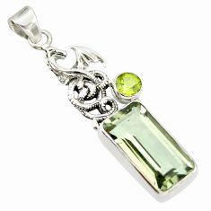 10.06cts natural green amethyst peridot 925 silver dragon pendant r20487