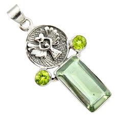 9.39cts natural green amethyst peridot 925 silver eagle charm pendant r20483