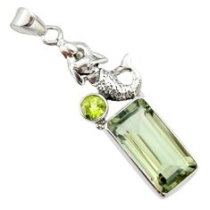 9.72cts natural green amethyst peridot 925 silver fairy mermaid pendant r20482