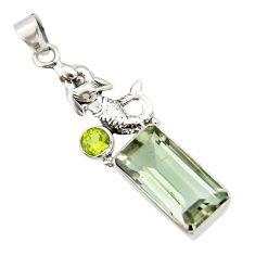 9.39cts natural green amethyst peridot 925 silver fairy mermaid pendant r20500
